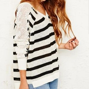 Free People Lou Striped V Neck Sweater